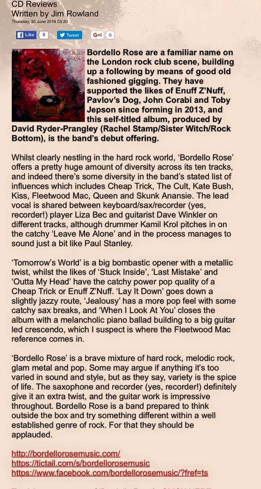 bordello rose uber rock album review 2016